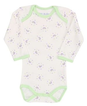 Under The Nile Full Sleeves Onesies Moon Print - White And Green