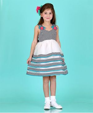 Bonny Billy & Blue Gingham Tiered Dress - Black And Green