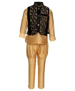 Little Bull Ethnic Kurta Pajama Designer Jacket Set - Black Beige