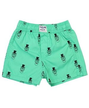 Palm Tree Boxer Shorts Puppy Print - Green