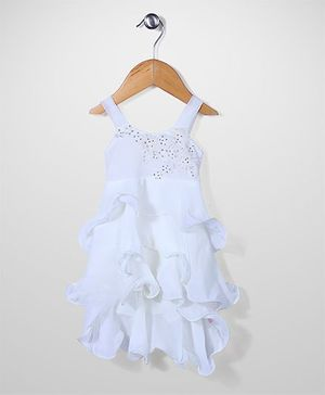 Chocopie Sleeveless Asymmetric Pattern Frock Floral Applique - Off White