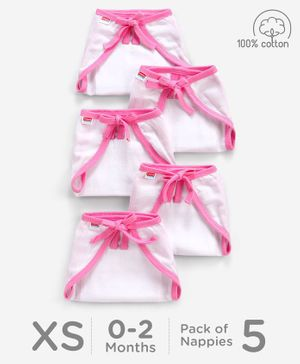 Babyhug U Shape Reusable Muslin Nappy Set Extra Small Pack Of 5 - Pink And White
