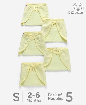 Babyhug U Shape Reusable Muslin Nappy Set Lace Small Pack Of 5 - Lemon Yellow