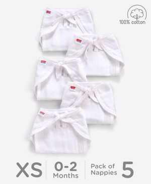 Babyhug U Shape Reusable Muslin Nappy Set Lace Extra Small Pack Of 5 - White