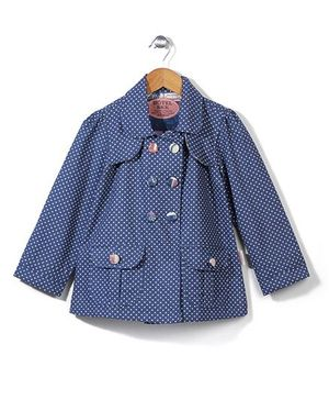 Little Fairy Full Sleeves Coat Dotted Print - Blue