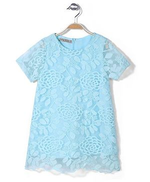 Jolly Jilla Half Sleeves Top Floral - Aqua Blue
