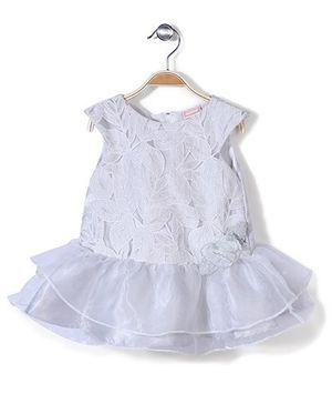 Little Coogie Party Dress - Light Grey And White