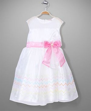 Little Coogie Party Dress - White & Pink