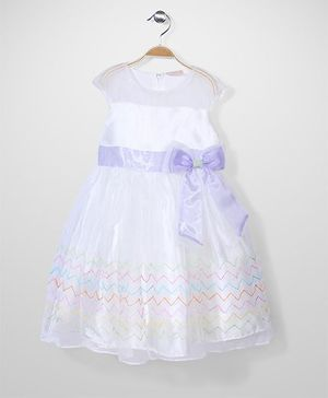 Little Coogie Party Dress - White & Purple