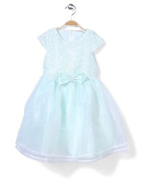 Little Coogie Cap Sleeves Party Dress Bow Applique - Light Blue