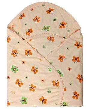 Tinycare Hooded Light Orange Towel - Butterfly Print