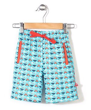 Zutano Car Printed Shorts - Aqua