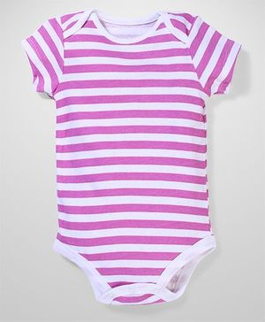 Baby Starters Half Sleeves Cotton Onesies - Purple & White