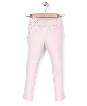 Tiny Girl Full Length Jeggers Stone Work - Light Pink