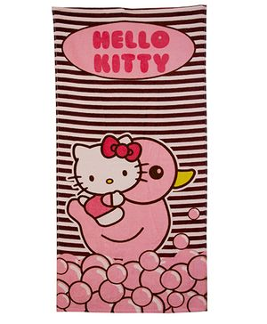 Hello Kitty Duck Stripes Printed Bath Towel - Pink