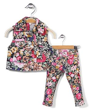 Floral Printed Top & Bottom Set - Multi Colored