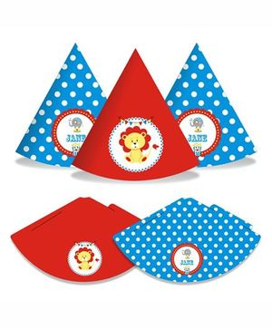 Prettyurparty Carnival Hats- Blue and Red
