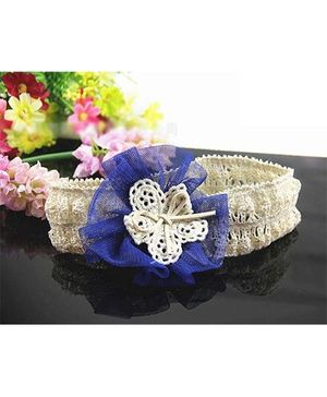 Akinos Kids  Chiffon Flower Headband - Blue