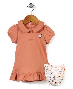 Magnificent Baby Ruffle Dress with Bloomer - Coral & White