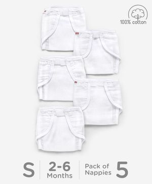 Babyhug Muslin Cotton Reusable Cloth Nappies With Velcro Small Set Of 5 - White