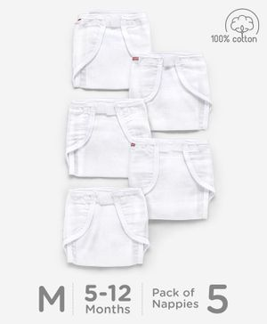 Babyhug Muslin Cotton Reusable Cloth Nappies With Velcro Medium Set Of 5 - White