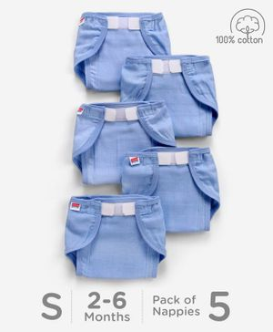 Babyhug Muslin Cotton Reusable Cloth Nappies With Velcro Small Set Of 5 - Blue