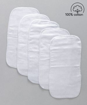 Babyhug Muslin Cotton Cloth Nappy Insert  Pack Of 5 - White