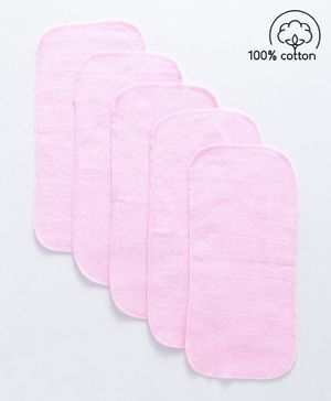 Babyhug  Muslin Cotton Cloth Nappy Insert  Pack Of 5 - Pink