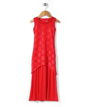 Lei Chie Gorgeous Gown With Floral Design - Red