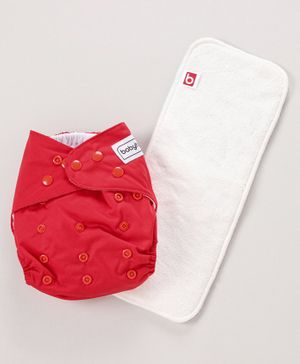 Babyhug Free Size Reusable Cloth Diaper With Insert - Red