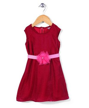 Angelito Sleeveless Party Frock Floral Appliques - Dark Pink