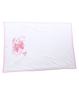 Tinycare Baby Towel Teddy Print - White and Pink