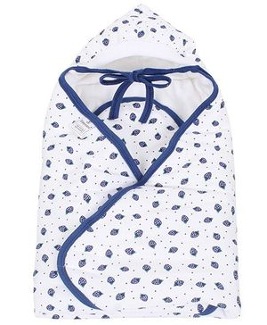 Tinycare Hooded Wrappper Strawberry Print - Navy