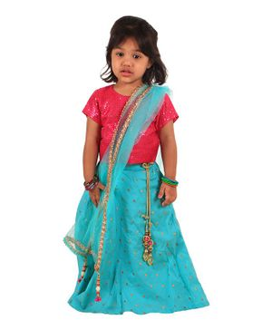 PASSION PETALS Half Sleeves Sequin Detailing Choli With Flared Lehenga & Dupatta - Pink & Blue