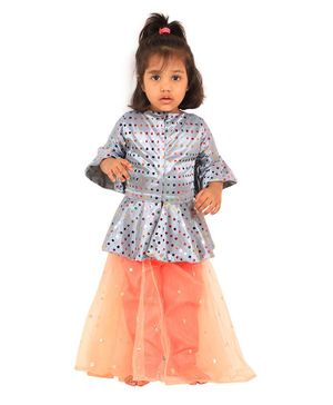 PASSION PETALS Three Fourth Sleeves Colourful Sequin Detailing Peplum Choli With Flared Lehenga - Grey & Peach