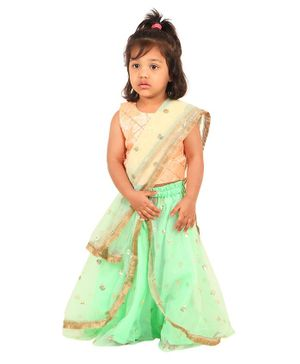 PASSION PETALS Sleeveless Sequinned Choli With Contrast Lehenga & Dupatta Set - Peach Green