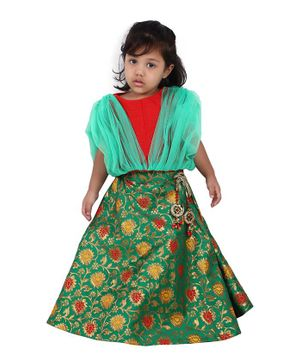 PASSION PETALS Short Sleeves Net Flare Choli With Floral Lehenga & Dupatta Set - Red Green