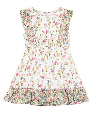 Budding Bees Sleeveless Floral Printed  A-Line Dress - White
