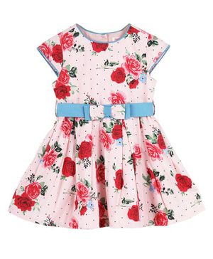 Budding Bees Cap Sleeves Rose Printed Fit & Flare Dress - Pink & Red