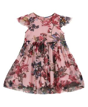 Budding Bees Cap Sleeves Flowers Printed Fit & Flare Dress - Pink