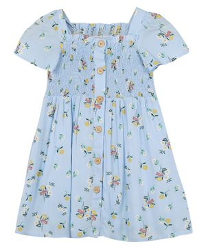 Budding Bees Half Sleeves Flowers Printed Smocking Dress - Blue