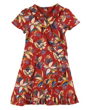 Budding Bees Half Sleeves Flowers Printed Dress - Red