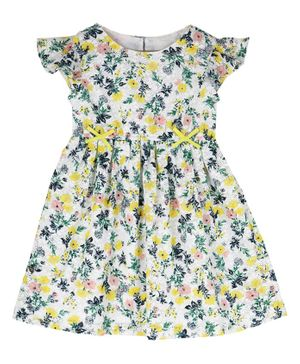 Budding Bees Cap Sleeves Floral Printed Fit & Flare Dress - Multicolor