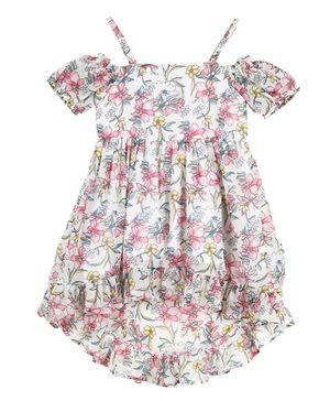 Budding Bees Half Sleeves Cold Shoulder Flowers Printed High Low Dress - Off White