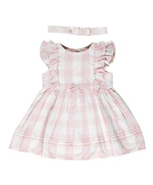Budding Bees Cap Sleeveless Checkered Dress With Headband - Pink