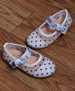 FEETWELL SHOES Polka Dot Print Detailing Bellies - White