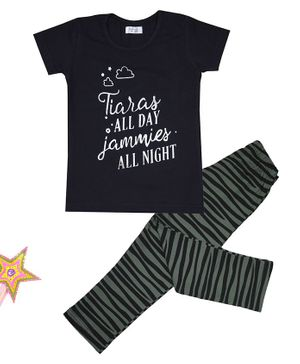 Sheer Love Short Sleeves Tiaras All Day Jammies All Night Printed Night Suit - Black