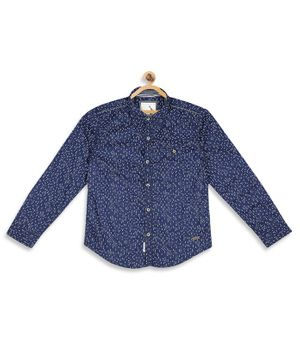 Blue Giraffe Printed Full Sleeves Shirt - Blue