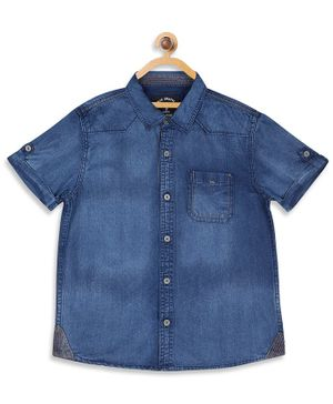 Blue Giraffe Half Sleeves Denim Shirt - Blue