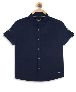 Blue Giraffe Half Sleeves Solid Shirt - Navy Blue